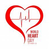 World Heart Day Banner With Red Heart And Wave Heart Human Sign Vector Design poster