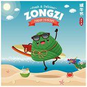 Vintage Chinese Rice Dumplings Cartoon Character & Dragon Boat Set. Dragon Boat Festival Illustratio poster