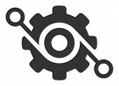 Gear Solution Vector Icon. Flat Gear Solution Symbol Is Isolated On A White Background. poster