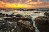 The Stunning Seascape With The Colorful Sky And First Rays At The Rocky Coastline Of The Black Sea poster