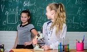 Formal Education School. Educational Experiment. Back To School. School Classes. Girls Study Chemist poster