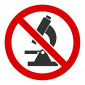 No Microscope Vector Icon. Flat No Microscope Symbol Is Isolated On A White Background. poster