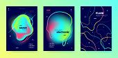Vivid Music Party. Futuristic Sound. Electronic Dance Festival. Multicolor 3d Fluid Invitation. Tren poster