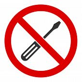 No Screwdriver Tuning Vector Icon. Flat No Screwdriver Tuning Symbol Is Isolated On A White Backgrou poster