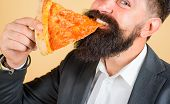 Closeup Portrait Of Pizza Slice. Lunch Or Dinner. Bearded Man Eating Slice Of Pizza. Bearded Man Eat poster