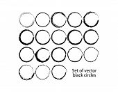 Set Of Vector Black Circles. Black Spots On White Background Isolated. Spots For Grunge Design poster