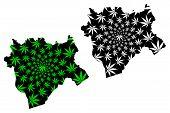 Aktobe Region (republic Of Kazakhstan, Regions Of Kazakhstan) Map Is Designed Cannabis Leaf Green An poster