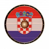 A Viking Style Round Shield With The Croatian Flag Color Design Isolated On A White Background poster