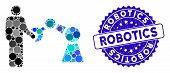 Mosaic Robotics Handshake Icon And Distressed Stamp Seal With Robotics Caption. Mosaic Vector Is Com poster