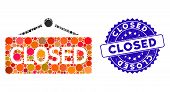Mosaic Closed Announce Icon And Corroded Stamp Watermark With Closed Caption. Mosaic Vector Is Desig poster