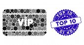 Mosaic Vip Access Card Icon And Grunge Stamp Seal With Top 10 Caption. Mosaic Vector Is Created From poster