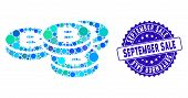 Mosaic Bitcoin Coins Icon And Distressed Stamp Watermark With September Sale Text. Mosaic Vector Is  poster