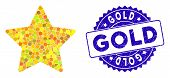 Collage Gold Star Icon And Corroded Stamp Seal With Gold Caption. Mosaic Vector Is Formed With Gold  poster