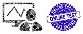 Mosaic Online Trader Icon And Distressed Stamp Seal With Online Test Caption. Mosaic Vector Is Desig poster