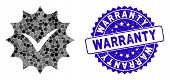 Mosaic Warranty Tag Icon And Grunge Stamp Seal With Warranty Caption. Mosaic Vector Is Created With  poster