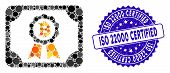 Mosaic Bitcoin Certificate Icon And Rubber Stamp Seal With Iso 22000 Certified Caption. Mosaic Vecto poster