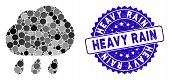 Mosaic Rain Icon And Distressed Stamp Seal With Heavy Rain Caption. Mosaic Vector Is Created From Ra poster