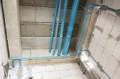 Pvc Tube  In Water Piping System And Draining System Installation Under Concrete Floor In Under Cons poster