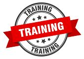 Training Label. Training Red Band Sign. Training poster
