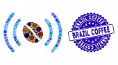 Collage Coffee Wifi Spot Icon And Corroded Stamp Seal With Brazil Coffee Caption. Mosaic Vector Is C poster