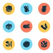 Meal Icons Set With Butter, Lasagna, Noddles And Other Spaghetti Elements. Isolated Illustration Mea poster