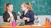 Biology Lab. Happy Genius. Chemistry Research In Laboratory. Little Girls Scientist With Microscope. poster