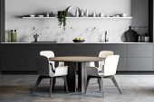 Round Dining Table In White Marble Kitchen poster