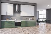 Gray And Green Kitchen Corner, Counters And Table poster