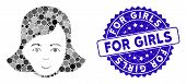Collage Lady Face Icon And Rubber Stamp Seal With For Girls Phrase. Mosaic Vector Is Designed With L poster
