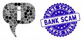 Mosaic About Icon And Grunge Stamp Watermark With Bank Scam Caption. Mosaic Vector Is Created With A poster