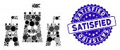 Mosaic Happy Bulwark Icon And Rubber Stamp Watermark With Satisfied Caption. Mosaic Vector Is Create poster