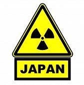Radioactive Hazard In Japan. Warning Sign. A Warning Yellow Sign Of Radioactive Hazard With The Blac poster