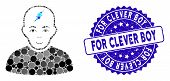 Mosaic Clever Boy Icon And Rubber Stamp Seal With For Clever Boy Text. Mosaic Vector Is Designed Wit poster