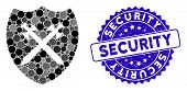 Mosaic Security Shield Icon And Corroded Stamp Watermark With Security Phrase. Mosaic Vector Is Comp poster