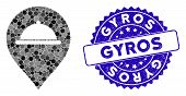 Mosaic Meal Marker Icon And Rubber Stamp Watermark With Gyros Phrase. Mosaic Vector Is Designed With poster