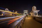 Szechenyi Chain Bridge On The Danube River At Night. Budapest, Hungary. poster