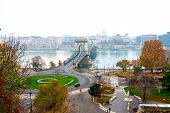 Beautiful View Of The Chain Bridge Over The Danube River In Budapest poster