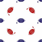 Blue And Red Reddish Eye Due To Viral, Bacterial Or Allergic Conjunctivitis Icon Isolated Seamless P poster
