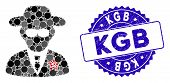 Collage Kgb Spy Icon And Rubber Stamp Seal With Kgb Caption. Mosaic Vector Is Designed With Kgb Spy  poster