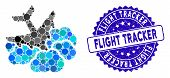 Mosaic Aircraft Falls Into Clouds Icon And Distressed Stamp Seal With Flight Tracker Text. Mosaic Ve poster
