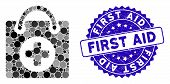 Mosaic First Aid Icon And Distressed Stamp Seal With First Aid Caption. Mosaic Vector Is Formed With poster