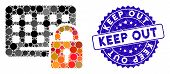 Collage Keypad Locked Icon And Rubber Stamp Seal With Keep Out Text. Mosaic Vector Is Created With K poster