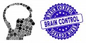 Mosaic Brain Icon And Rubber Stamp Watermark With Brain Control Phrase. Mosaic Vector Is Designed Wi poster