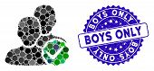 Mosaic Boys Only Icon And Corroded Stamp Watermark With Boys Only Phrase. Mosaic Vector Is Created W poster