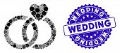 Collage Wedding Rings Icon And Grunge Stamp Seal With Wedding Phrase. Mosaic Vector Is Formed With W poster