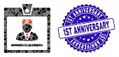 Mosaic Doctor Badge Icon And Grunge Stamp Watermark With 1st Anniversary Text. Mosaic Vector Is Form poster