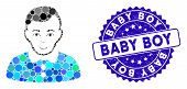 Mosaic Boy Icon And Grunge Stamp Seal With Baby Boy Text. Mosaic Vector Is Formed With Boy Pictogram poster