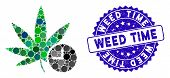 Mosaic Weed Time Icon And Grunge Stamp Watermark With Weed Time Text. Mosaic Vector Is Composed With poster