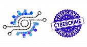 Collage Electronic Gear Icon And Grunge Stamp Seal With Cybercrime Phrase. Mosaic Vector Is Formed W poster