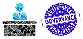 Mosaic Bureaucrat Icon And Rubber Stamp Watermark With Governance Text. Mosaic Vector Is Formed With poster